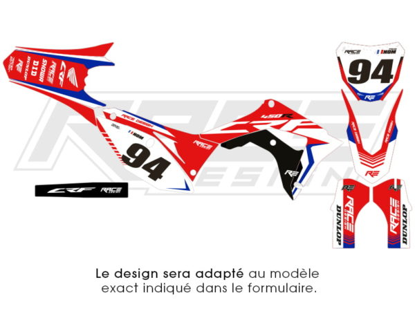 kit stikers honda racer bleu