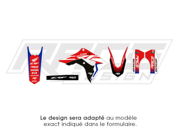 kit sticker partiel honda racer bleu